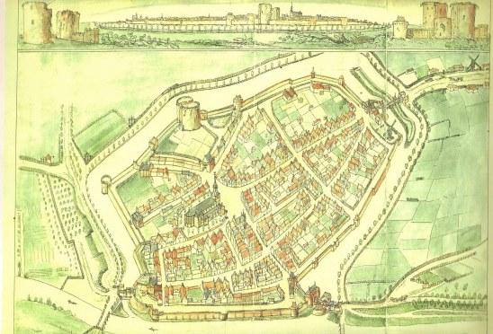 Assenradepad_Vogelvluchtkaart van Hattem 16de eeuw_Voerman Museum Hattem